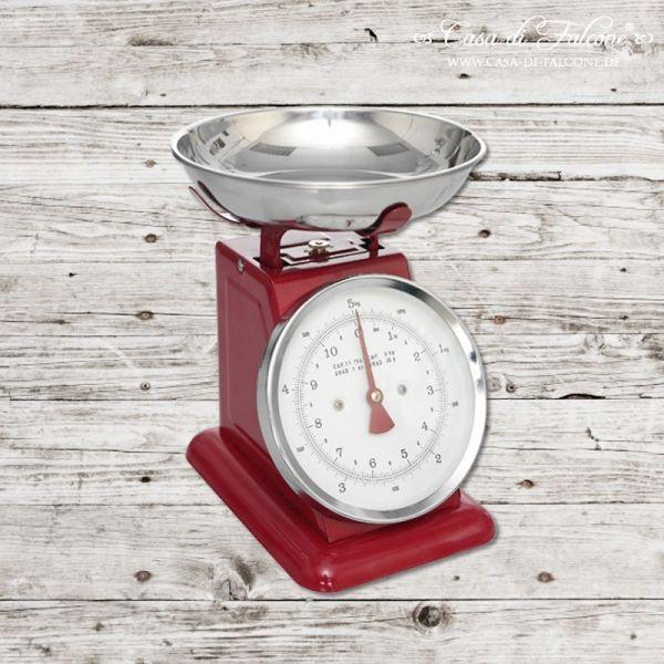 Retro-Küchenwaage rot: Retro Küchenwaage aus Emaille mit Waagschale aus Edelstahl, rot. Maßeinheiten: Gramm und Kilos / Pfund und Unzen. Kapazität = 5kg. ...