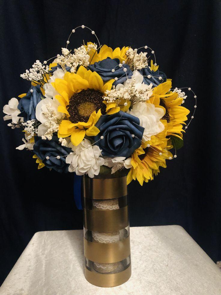 Wedding bouquet sunflower rustic wedding bouquet navy blue