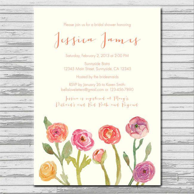 Ranunculus poppies watercolor flower bridal shower