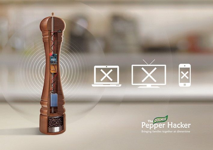 The Dolmio Pepper Grinder disables WiFi, TVs, and mobile devices for half an hour while it's seasoning your food.