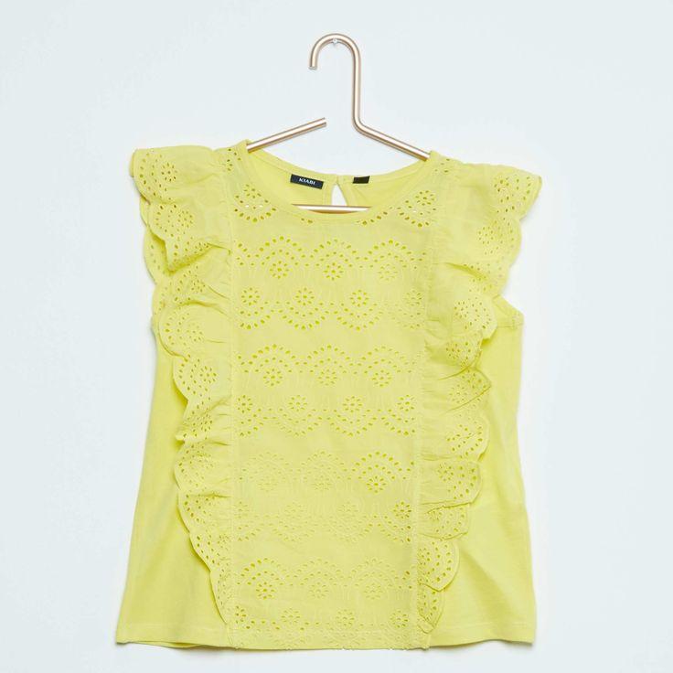 Camiseta sin mangas con bordado inglés Chica - Kiabi - 10,00€