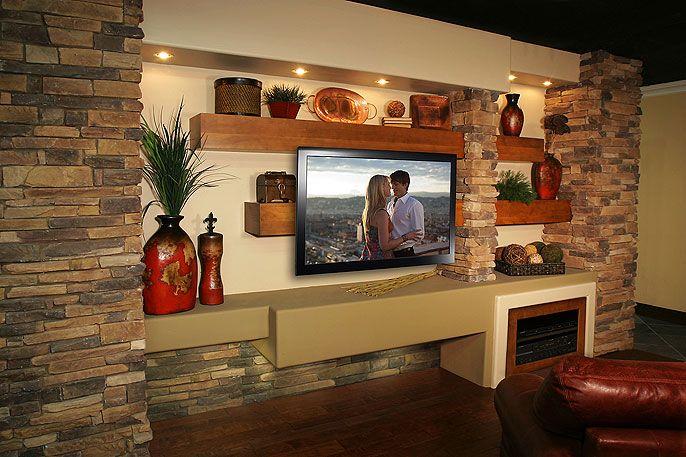 Media walls phoenix az fireplace makeover pinterest for Media wall design phoenix