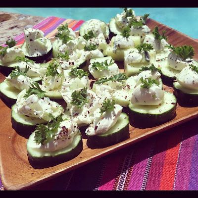 Cucumber Bites Recipe - this is a light tasting recipe.  I subsituted the cream cheese for ricotta.  Made it really nice!