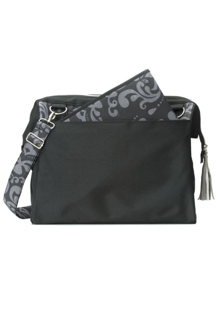 "Charcoal and grey damask print diaper bag includes a cushioned changing pad and a wide, zippered opening for easy access. Bag has two large outer pockets, one with a magnetic flap closure, an inside zippered pocket plus four elasticized pockets for accessories. Strap can be used as a crossbody, shoulder, or stroller strap. Surface washable.    Measures: 15"" x 13"" x 7""; 23"" x 14"" changing pad    Fashionable Diaper Bag by LillyBit by Demdaco. Bags - Totes Virginia"