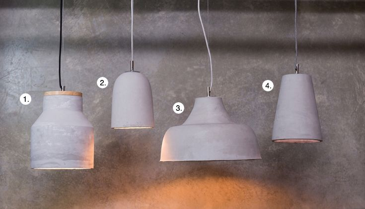 1. Large Moby Concrete & Timber Pendant  2. Concrete Pendant No.1  3. Concrete Pendant No.2  4. Concrete Pendant No.4 | Shop Schots Lighting collections in Melbourne & Geelong, Australia or online at www.schots.com.au