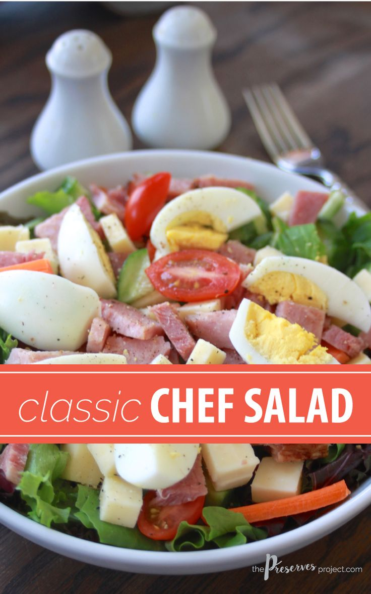 A Classic Chef Salad with chopped ham, egg and greens. A hearty and delicious salad packed with nutrition!