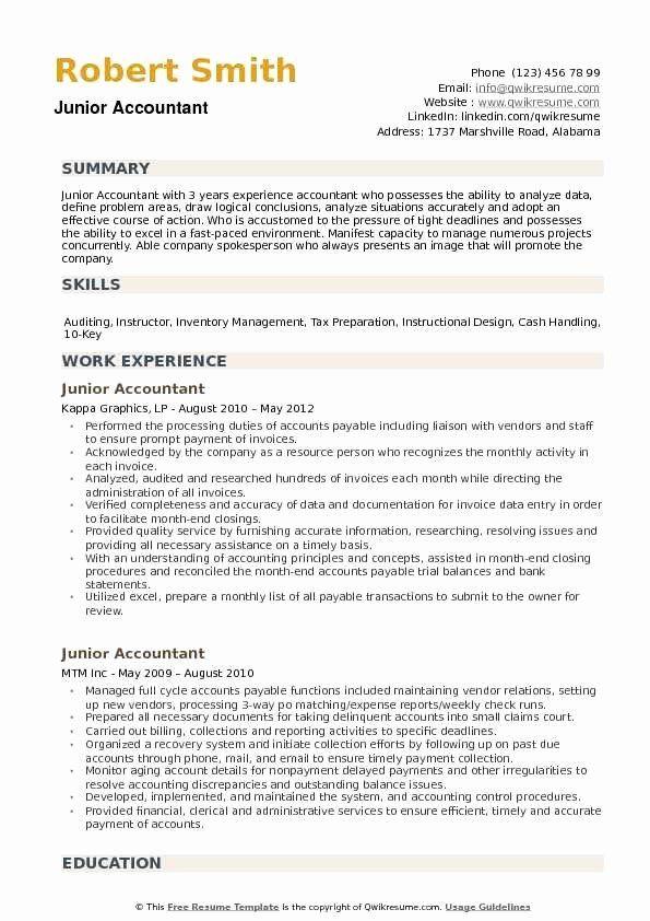 Bookkeeper Resume With Quickbooks Experience Elegant Junior Accountant Resume Samples Job Resume Samples Accountant Resume Good Resume Examples