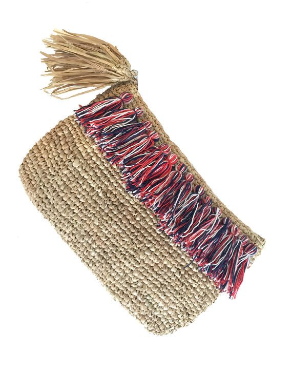 Raffia Clutch Tassel Beach Purse Boho Clutch Beach by MOOSSHOP