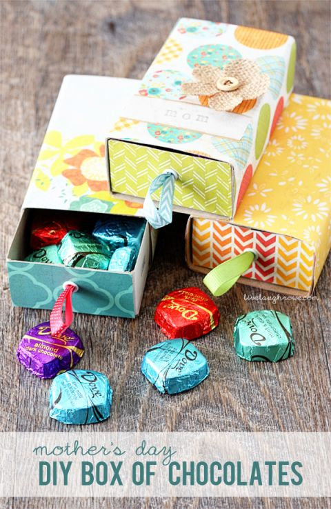 DIY Box of Chocolates.  The perfect Mothers Day gift with a sweet twist. So cute :)
