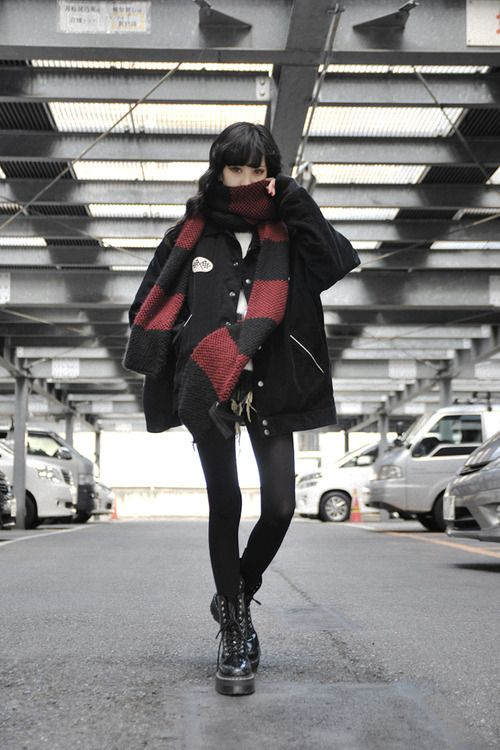 All black, combat boots + red scarf. Somehow really badass combination