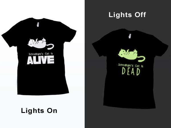 84a327fd6 Schrodinger's Cat tee, glows in the dark! -Teeturtle | ::Geekery:: | Schrodingers  cat, Cats, Cool t shirts
