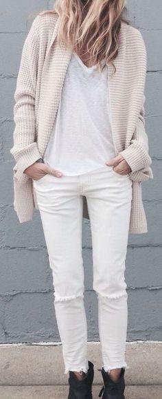 jeans blancos en invierno