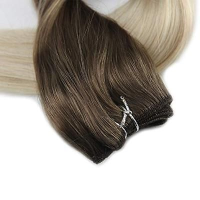 Details about Full Shine Remy Human Hair Weft Straight Balayage Hair Bundle Color 100g/Bundle