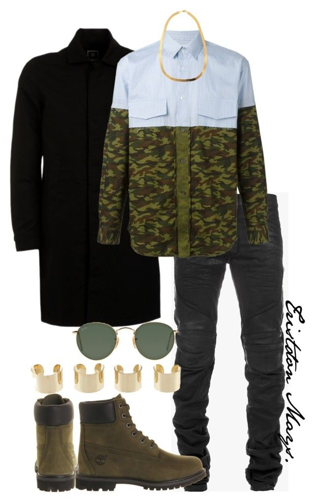 When The Glo Up Is Real. by monroestyles on Polyvore featuring polyvore fashion style Comme des Garçons SHIRT Timberland Maison Margiela Ray-Ban G-Star Balmain clothing MensFashion