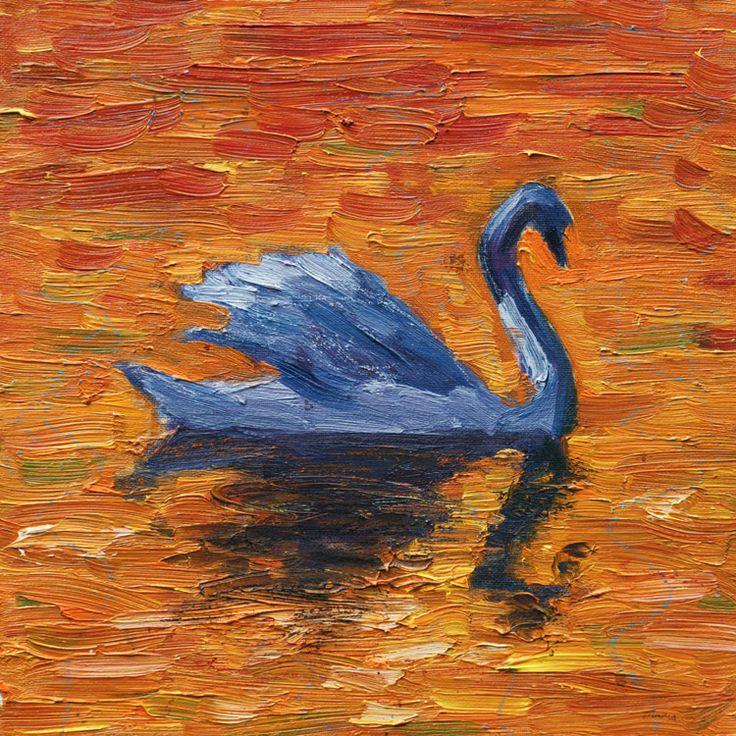 Zwaan bij zonsondergang 30 x 30, © 2007, verkocht | Olieverf | Op doek