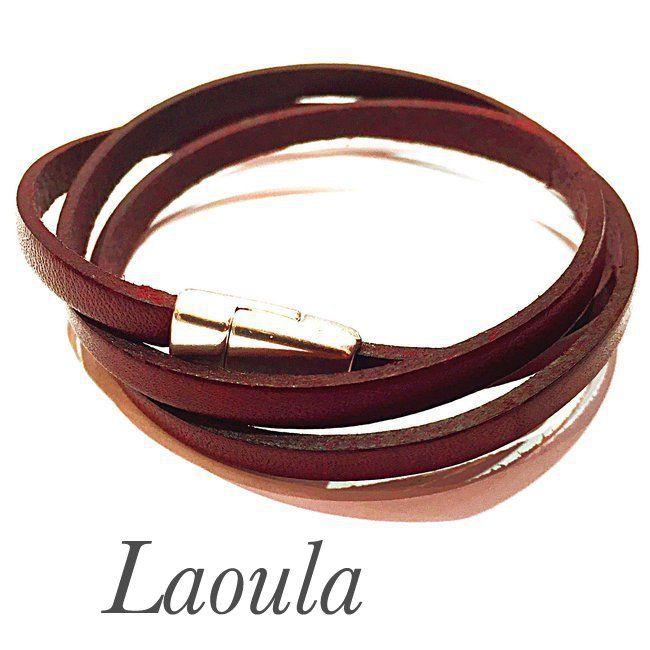 Bracelet cuir adolescent artisanal triple tours fait main 25896