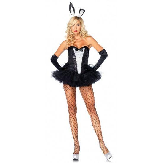 Sexy bunny outfit voor dames. Zwart met wit corset inclusief zwarte tutu rok met staart en haarband met oren. Gemaakt van 100% polyester. Luxe kwaliteit. Carnavalskleding 2015 #carnaval