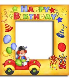 Postal de feliz #cumpleaños con payaso y globos. www.fotoefectos.com