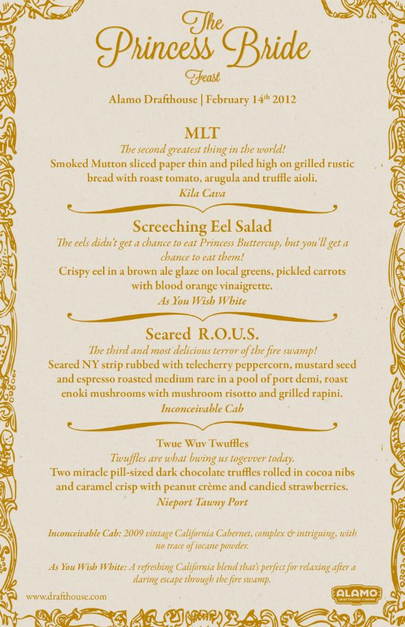 """Best. Dinner Menu. EVER. For the debut of the Bottle of Wits anniversary wine at the Alamo Drafthouse's """"Princess Bride Quote-Along Feasts."""" YES.Alamo Drafthouse, Birthday Parties, Brides Menu, Awesome, The Princesses Brides, Dinner Menu, The Alamo, Austin Tx, Wedding Menu"""