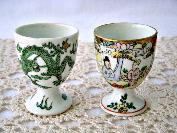 Vintage Neiman Marcus Porcelain Egg Cups Asian by GSaleHunter