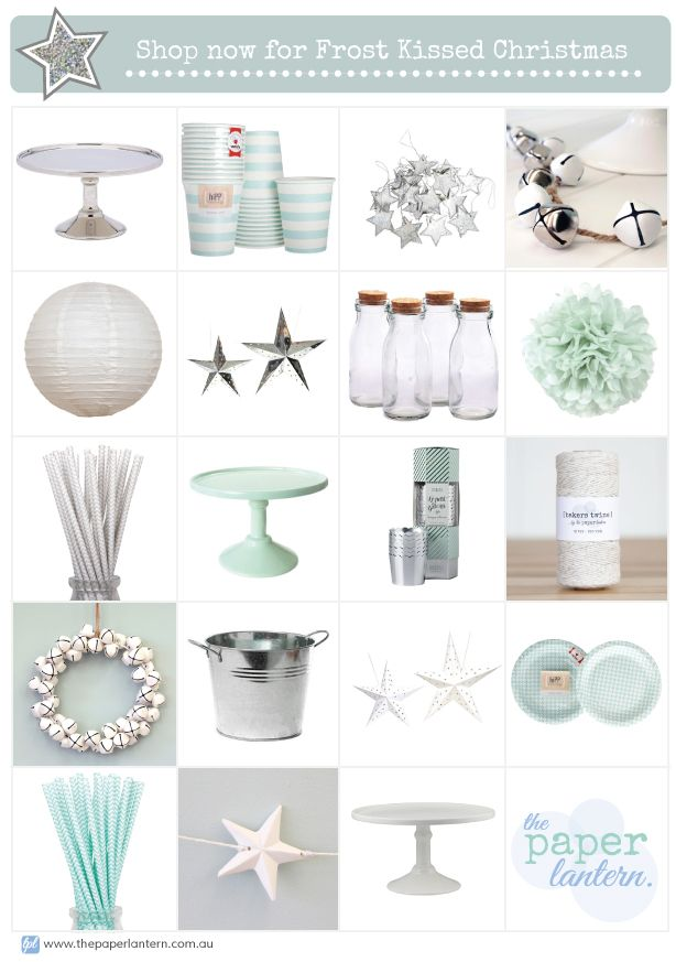 Shop Now for an Aqua, Silver + White Frost Kissed Christmas! | Aqua Silver White Christmas Decorations | The Paper Lantern