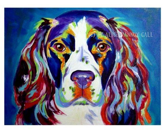 Large Size Colorful Whimsical Dog Paintings