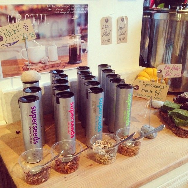 Our delicious Superseeds up for tasting at the beautiful Retreat Cafe, The Power Yoga Company Fulham.