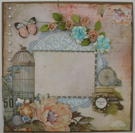 Premade+Scrapbook+Page+12+x+12+Vintage+by+DianesNiceties+on+Etsy