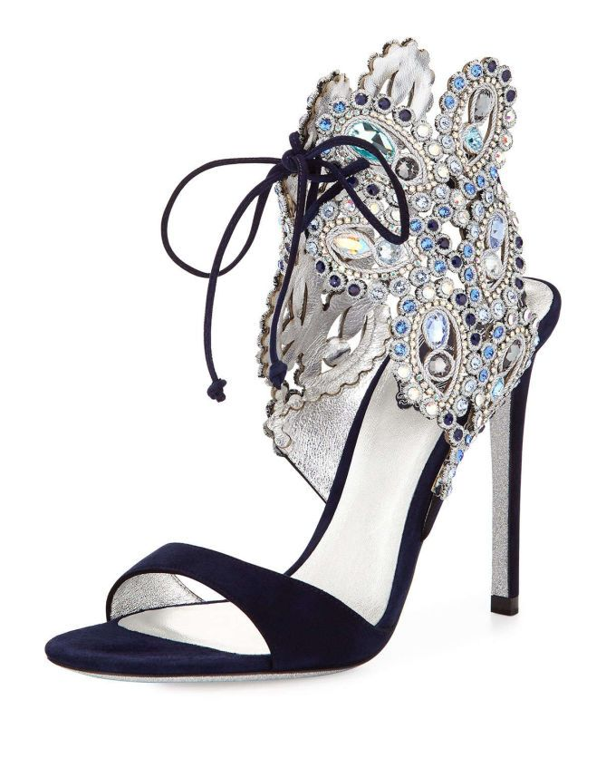 Rene Caovilla Crystal Ankle-Tie Evening Sandal, Navy Blue | Buy ➜ http://shoespost.com/rene-caovilla-crystal-ankle-tie-evening-sandal-navy-blue/