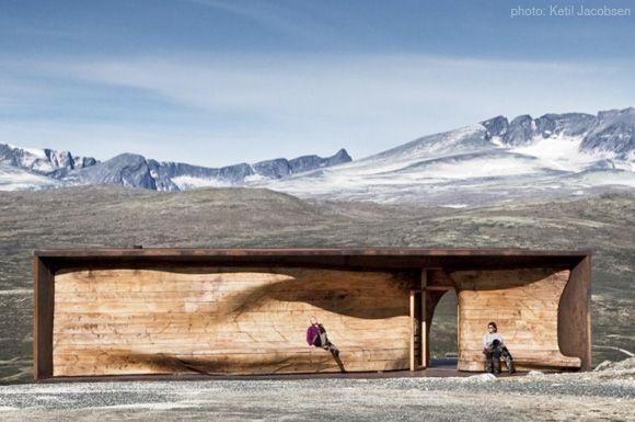 Snöhetta design - flowing lines in a box - Norwegian wild Reindeer Centre Pavillion