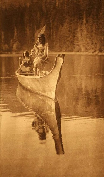 "Nootka Men (1915) by Edward S. Curtis - ""The canoe is floating on the waters of Boston cove, where in 1803 the trading ship Boston was taken and burned by the Mooachaht Indians, and the entire crew killed except John Jewitt and John Thompson, who were held as slaves by the chief for three years. Jewitt's brief account of his captivity is one of our most interesting records of life among the Indians."""