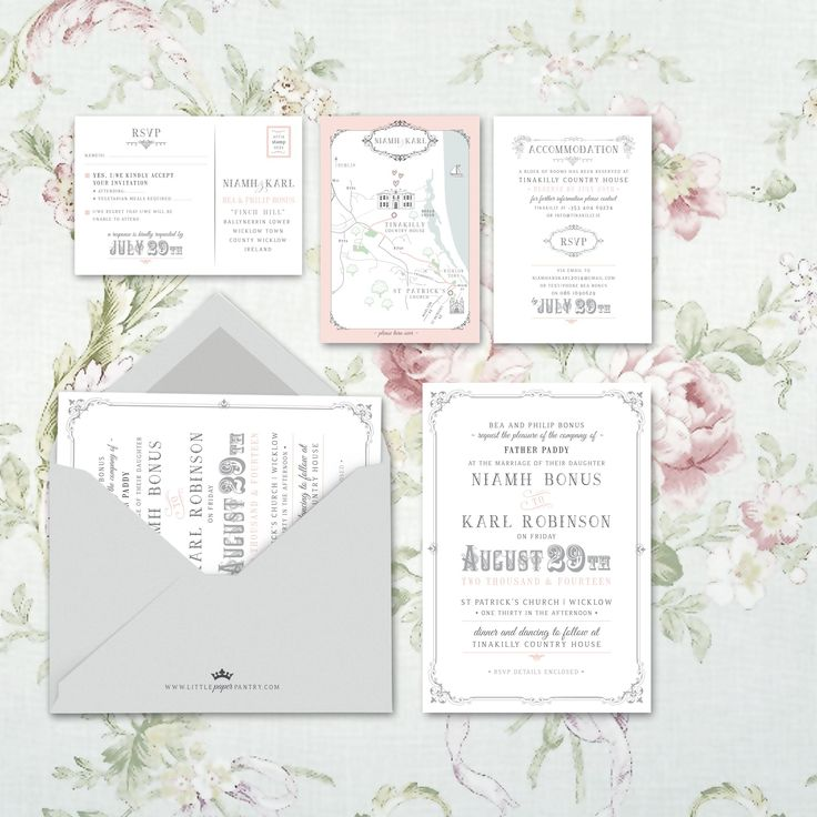 Elegant A5 pink and silver invitation with intricate border design and fancy fonts. Custom map designed for St Patricks Church, Wicklow and Tinakilly Country House.