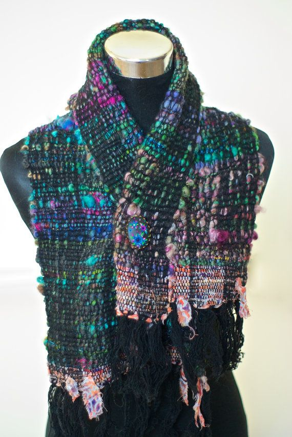 Luxury Saori Woven Scarf with matching Brooch Set - Handwoven Handspun - Shades of Sparkly Blue