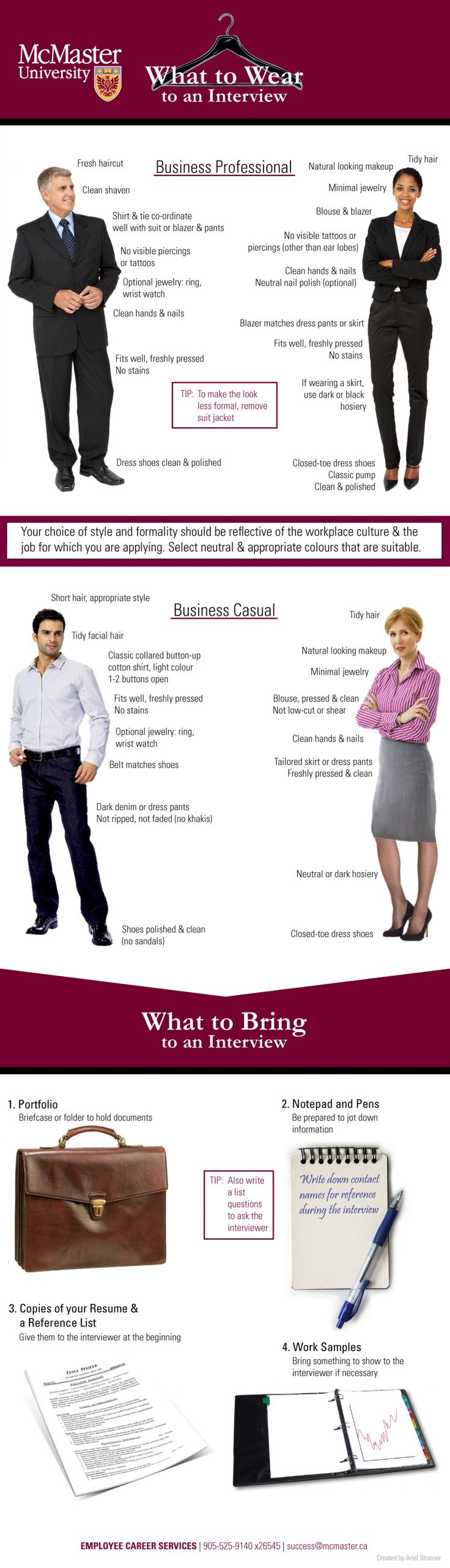 What to Wear and Bring to a Job Interview Infographic This is from my Dad's University!