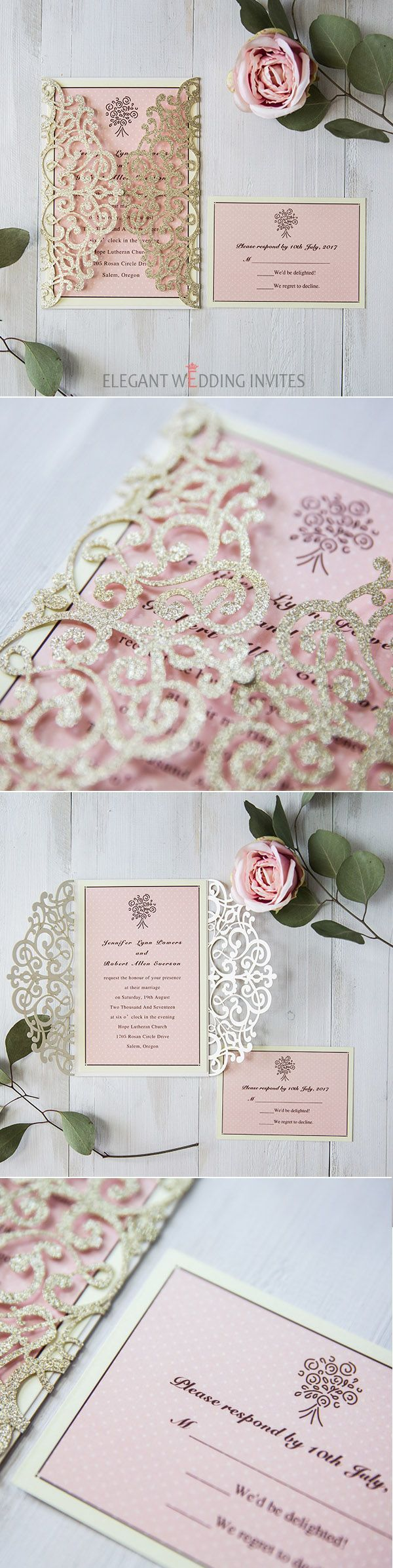 gold and pink glittery laser cut wedding