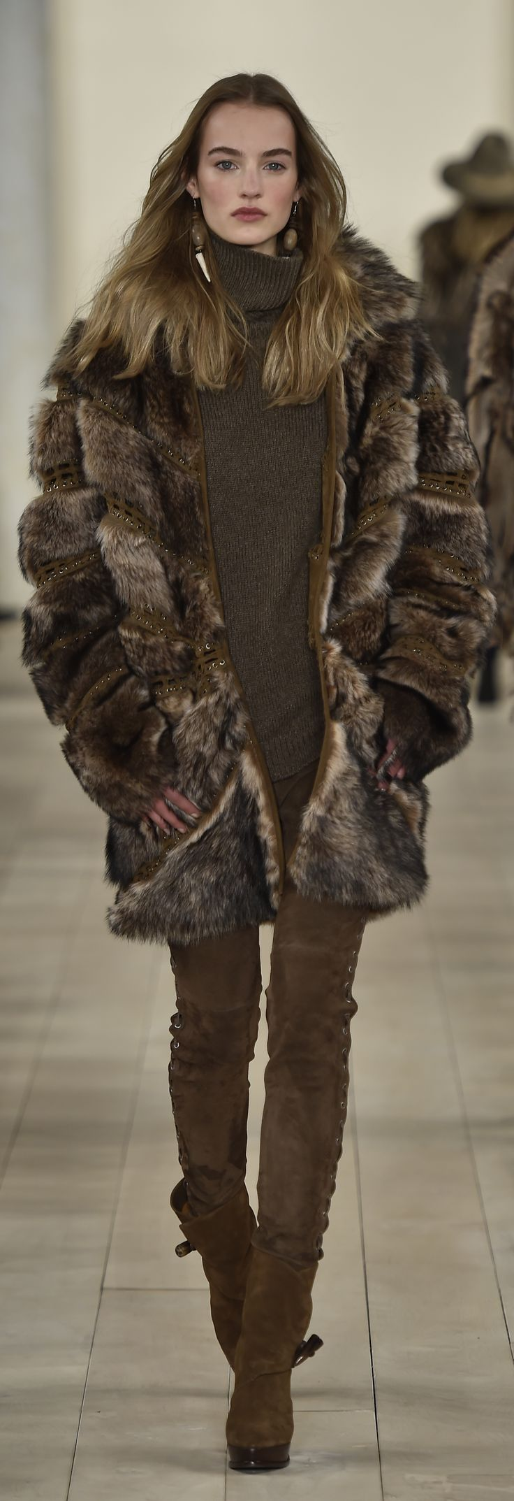 Ralph Lauren Collection Fall 2015: Shearling taupe coat available for pre-order on RalphLauren.com