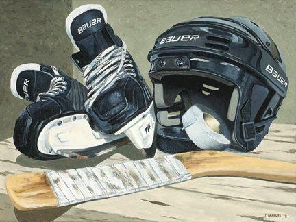 "Hockey Art - ""Waiting for the Game"" - Man Cave Art 11 x 14 -  Ice Skates Print - Bauer Skates on Etsy, $120.00 CAD"