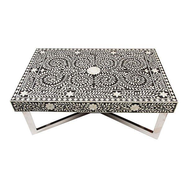 Indian Bone Inlaid Coffee Table. Moroccan ...