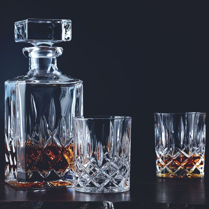 Nachtmann Noblesse Crystal Decanter and Whisky Glass Set.
