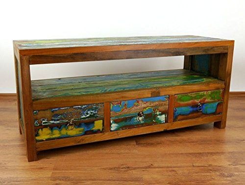 Java, Sideboard aus recyceltem, bunten Teakholz, TV-Bank, Phonomöbel, HiFi-Schrank (Handarbeit)