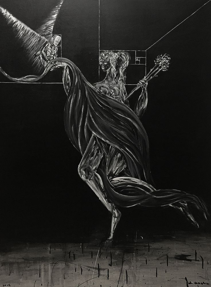 """""""St. Avara Receiving A Gown From An Angel, 2015"""" Jordan Devlin.   Jordan Devlin is a Scottish painter working mainly with black and white."""