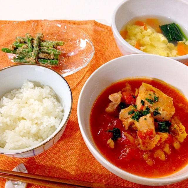 今夜は手抜き - 17件のもぐもぐ - 鶏肉とキャベツのトマト煮・アスパラの胡麻和え・中華スープ by accachan096Y1