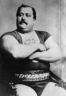 Louis Cyr, born Cyprien-Noe Cyr, Oct.10,1863-Nov.10,1912 in Saint-Cyprien-de-Napierville, Quebec, was a famous French Canadian Strongman. His career spanned the late 19th & early 20 th centuries His recorded feats, incl. lifting 500 lbs with one finger, & backlifting 4,337 lbs showing that he was the strongest man ever to have lived. He was acquainted with famous John L. Sullivan, Sullivan was not in Cyr's class, Sullivan always lost.Statues of him located at Musee de la Civilization…