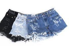 LEVI Denim Cutoff Shorts Tattered Blue 1970s Distressed Highwaist High Cut Jean Shorts - 27 / Light Blue
