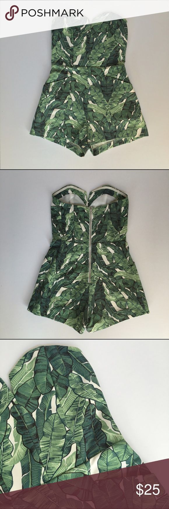 H&M Palm Print Strapless Playsuit H&M CONSCIOUS. Strapless playsuit in woven fabric. Bodice with boning, silicone trim inside upper edge, and seam at waist. Side pockets, short legs, and visible back zip. Unlined. Cotton content is organic. H&M Other