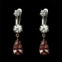 Brinco Com Diamantes E Topazio Imperial C101-la Gemme