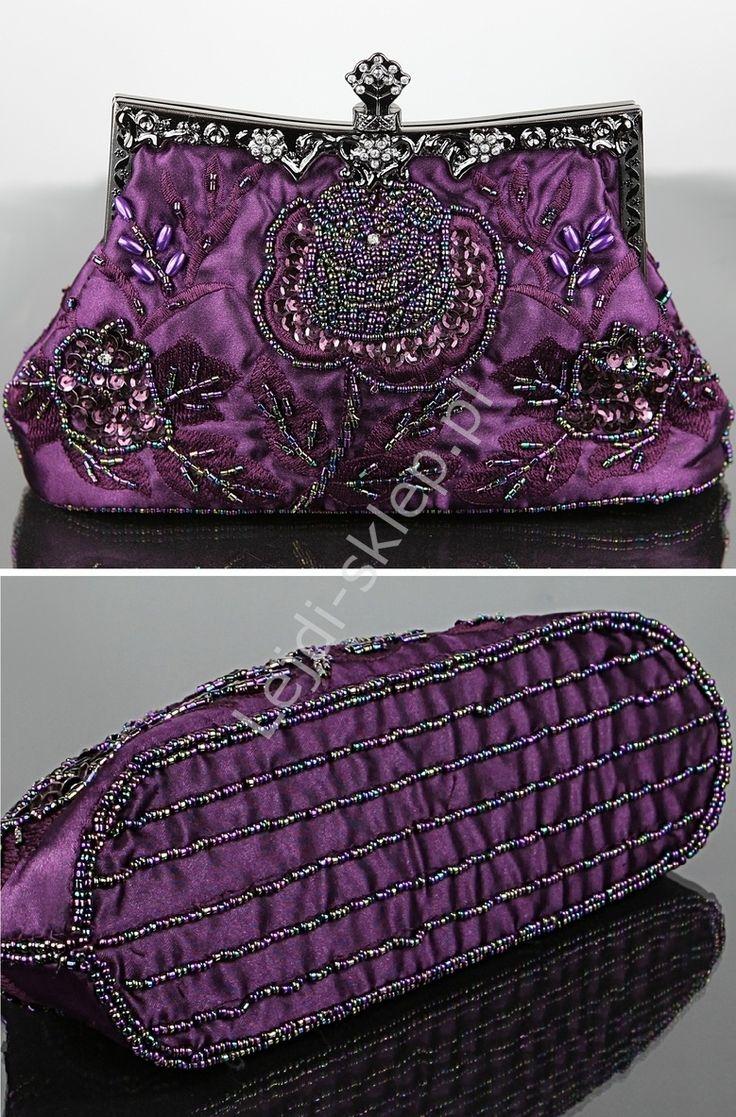Vintage purple bag - hand made . Fioletowa wyjątkowa torebka wieczorowa w stylu retro | torebki barok hand made - RĘKODZIEŁO