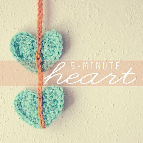 For Valentine's: Crochet Tutorials, Crochet Hearts, Heart Crochet, 5 Minute Crochet, Crochet Heart Patterns, Holidays Quotes, 5 Minute Heart, Fast Crochet, Bookmarks Crochet