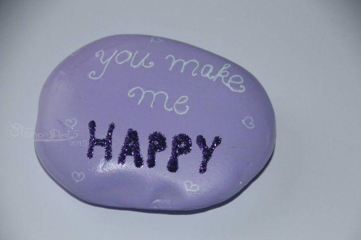 """Glitzer Stein """"you make me happy"""" von StoneArt2015 auf Etsy"""
