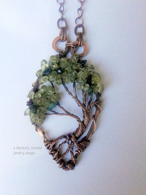 tree of life wire wrapped bonsai pendant peridot emeralds handmade jewelry antiqued copper wire tree jewelry august may birthstone - Jewelry Design Ideas